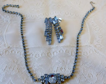 Ice Blue Rhinestone Choker Necklace and earring set Vintage 1950s
