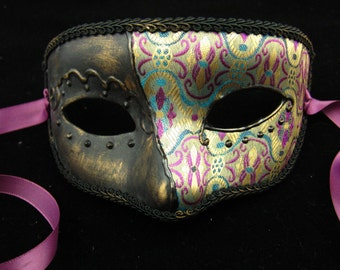 Parlour Mask, brocade covered female masquerade mask