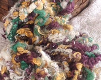 Art Yarn, Suri Alpaca, Chunky, Textured Handspun, 17 Yards, Lucerne, Pumpkin, Blackberry, Natural White and Beige