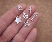 Tiny Silver Charm - Tiny Cross - Tiny Heart - Tiny Key - Crown Charm - Tiny Wishbone - ONE charm of your choice