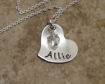 Name necklace - Birthstone crystal necklace - Sterling silver personalized jewelry - Little girl Name pendant - Photo NOT actual size
