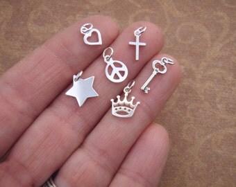 Tiny Silver Charm - Tiny Cross - Tiny Heart - Tiny Key - Crown Charm - Tiny Wishbone - ONE charm of your choice