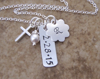 Girl's First communion necklace - Dainty initial, date necklace - Goddaughter gift - Cross and birthstone necklace - Photo NOT actual size