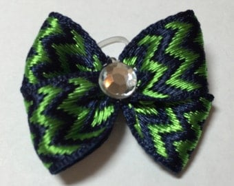 Navy & Kelly Green Chevron Print Dog Grooming Hair Bow with Clear Rhinestone Center