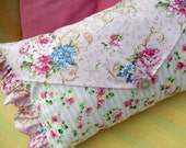 Pink Roses and Stripes in envelope style pillow gives that romantic Cottage Look