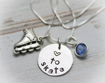 Inline Skating Sterling Silver Personalized Hand Stamped Necklace Inline Skater
