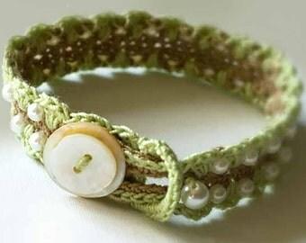 Mint & Pearls Bracelet - Original Thread Crochet Pattern