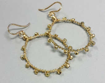 Mini Faceted Gold Bead Beaded Hoops