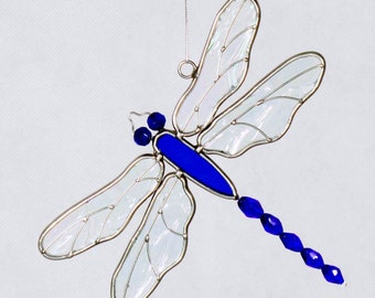 Stained Glass beaded tail Dragonfly sun catcher
