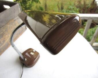 Vintage Brown Florescent Goose Neck Office Desk Lamp