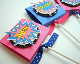 SuperHero Lollipop Party Favors, Pink and Blue, Set of Ten