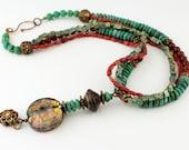 Lampwork Necklace Gemstones Antique Brass Bronze Turquoise Coral Jasper 'Fire Goddess'