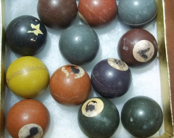 mini pool ball, numbered balls, game pieces,  pool balls - colored small game balls - vintage game balls -  12 game pieces - hard pool balls