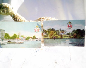 vintage postcards, henley and twickenham, london postcards, antique postcards, the river thames, river postcards