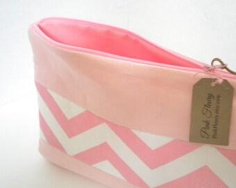 Linen Bag Pink Linen Cosmetic or Travel Bag Linen Zipper Pouch