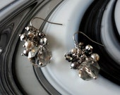 Beaded Crystal and Pearl Cluster Beaded Silver Pierced Earrings