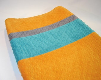 Pumpkin Orange Changing Pad Cover with Stripes