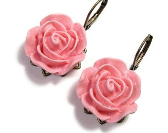 Pink Flower Earrings, Rose Pink Floral Dangle Earrings, Womens Fashion Accessories, Jewelry Gifts for Gardeners, Affordable Gifts for Mom