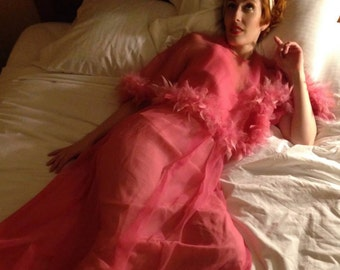 Vintage 1960s candy pink gown with sheer feather trimmed capelet
