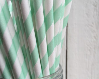 25 Mint Green Striped Paper Drinking Straws Made in the USA