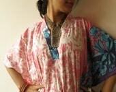 White Pink Leafy Kaftan - Pajamas to live in, beachwear Caftan, spa robe..make great Anniversary or Birthday gifts, new mom Gift