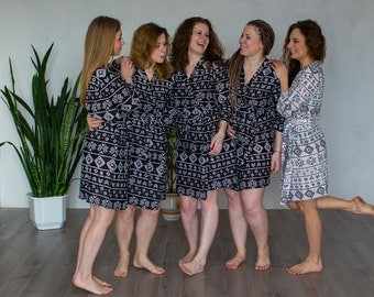 Black Aztec Bridesmaids Robes Sets Kimono Crossover Robe Wrap bridesmaids gifts, getting ready robes, Bridal shower favors, pre-wedding pics