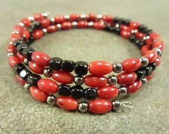 Red Coral, Black Czech Glass Cubes and Memory Wire Coil Bracelet Gunmetal
