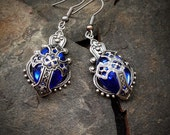 Blue Tudor Cross Earrings