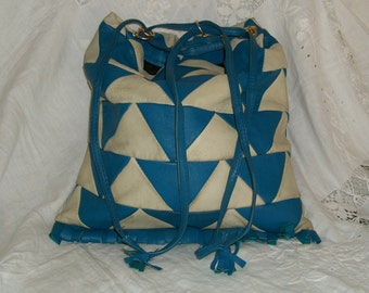 Vintage 1960s Mod Deco Style Leather Blue and OffWhite Hobo Drawstring Purse Amazing Good Cond