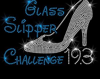 Glass Slipper Challenge Disney 19.3 Run iron on rhinestone transfer for shirt half marathon 10K