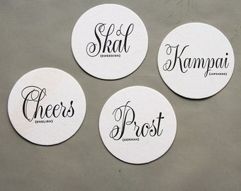 Letterpress Coaster - Cheers Language Coasters (set of 8)