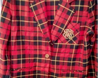 red plaid tartan crest jacket suit shorts blazer punk bondage schoolgirl preppy normcore size 6 kinderwhore