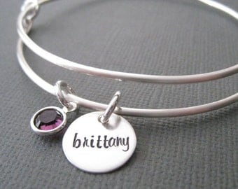 Hand Stamped Bangle Bracelet - Silver Mothers Jewelry, Personalized Bracelet, Silver Bracelet Bangle, Anniversary Gift,  Mother's Gift