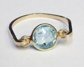 Blue Topaz Ring    Blue Topaz Gemstone Ring   14K Gold Filled Ring   Blue Topaz Jewelry  Gold Ring