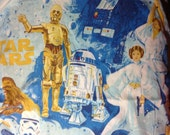 Vintage single twin  3 piece   Flat   Fitted pillowcase bed  sheet Star Wars