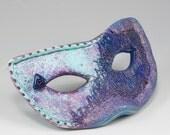 Purple Mask Brooch Teal Blue Fiber -  Pin No. 139