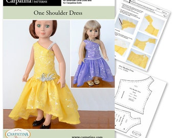 """One Shoulder Dress PDF Pattern Multi-sized for 18"""" Slim Carpatina or Kidz n Cats and for 18"""" American Girl Dolls"""