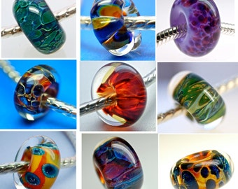 Handmade lampwork boro large hole bead sale  set of 6 your choice paulbead ooak glass euro style bracelet glass charms beads for bracelets