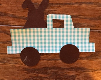 Easter Bunny Truck Iron On Applique, You Choose Fabric