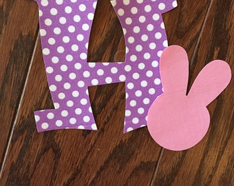 Easter Monogram Letter Iron On Applique, You Choose Fabric