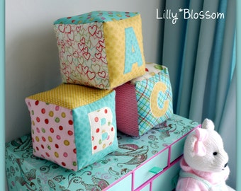Set of 3 Handmade ABC Baby Blocks