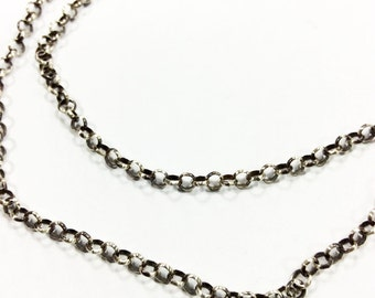 Oxidized Sterling Silver Rolo Chain Necklace for Pendants