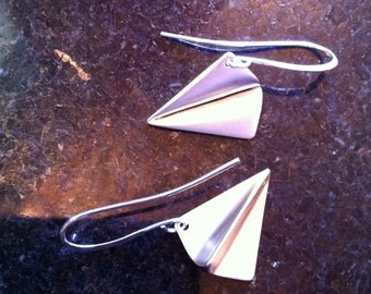 Silver Paper Airplane Earrings Paperman with French Wires by LauriJon Studio City™