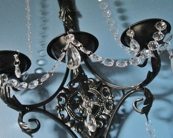 ONE Pillar Candle Triple Wall Sconce in Jet Black with Clear Crystals MADE To ORDER