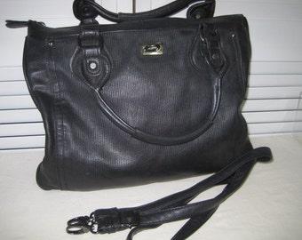 vintage Black leather Messenger Bag by Urban Expressions - large tote bag