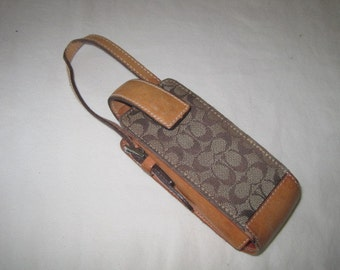vintage Coach saddle Tan leather and Fabric Accessory Case