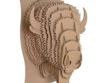 Billy - Large Cardboard Bison Head - Brown
