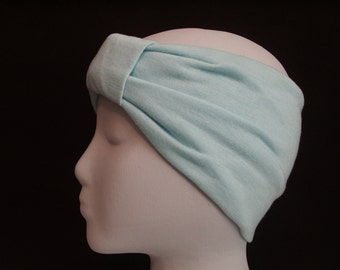 PASTEL GREEN Turban Headband / Hair Bands / Wide Head Wrap / Turband Boho Hair Covering / Jersey Stretch Ruched with Fabric Wrap