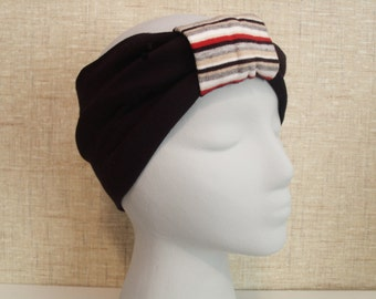 BLACK w/ Striped Red Gather Turban Headband / Hair Bands / Wide Head Wrap  Boho Hair Covering / Wrap Jersey Stretch Ruched with Fabric Wrap