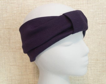 NAVY BLUE Turban Headband / Hair Bands / Wide Head Wrap / Turband Boho Hair Covering / Wrap Jersey Stretch Ruched with Fabric Wrap